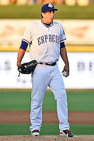 Round Rock Express pitcher Derek Holland (58) on the mound during pacific coast league baseball game, Friday August 14, 2014 in Round Rock, Tex. Reno defeated Round Rock 6-1 to go two up in best of three series. (Mo Khursheed/TFV Media via AP Images)