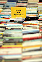 Hay on Wye. Friday 03 June 2016<br />Fiction A-Z used books at the Oxfam Charity book store at the Hay Festival, Hay on Wye, Wales, UK