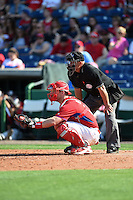 Philadelphia Phillies catcher John Hester (60) and umpire Gary Glover during an exhibition game against the University of Tampa on March 1, 2015 at Bright House Field in Clearwater, Florida.  University of Tampa defeated Philadelphia 6-2.  (Mike Janes/Four Seam Images)