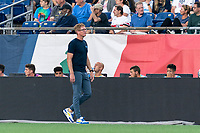 FOXBOROUGH, MA - AUGUST 8: Philadelphia Union coach Jim Curtin during a game between Philadelphia Union and New England Revolution at Gillette Stadium on August 8, 2021 in Foxborough, Massachusetts.