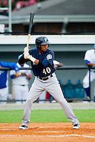 Jesus Ugueto (40) of the Pulaski Mariners at bat against the Burlington Royals at Burlington Athletic Park on July 20, 2013 in Burlington, North Carolina.  The Royals defeated the Mariners 6-5.  (Brian Westerholt/Four Seam Images)