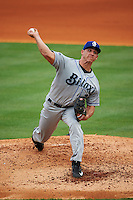 Biloxi Shuckers pitcher Jacob Barnes (23) delivers a pitch during the second game of a double header against the Pensacola Blue Wahoos on April 26, 2015 at Pensacola Bayfront Stadium in Pensacola, Florida.  Pensacola defeated Biloxi 2-1.  (Mike Janes/Four Seam Images)