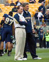 November 08, 2008: Pitt defensive coordinator Phil Bennett and head coach Dave Wannstedt. The Pitt Panthers defeated the Louisville Cardinals 41-7 on November 08, 2008 at Heinz Field, Pittsburgh, Pennsylvania.