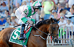 ARLINGTON HEIGHTS, IL - AUGUST 12: Deauville #5, ridden by Ryan Moore, during the post parade before the  Arlington Million on Arlington Million Day at Arlington Park on August 12, 2017 in Arlington Heights, Illinois. (Photo by Jon Durr/Eclipse Sportswire/Getty Images)