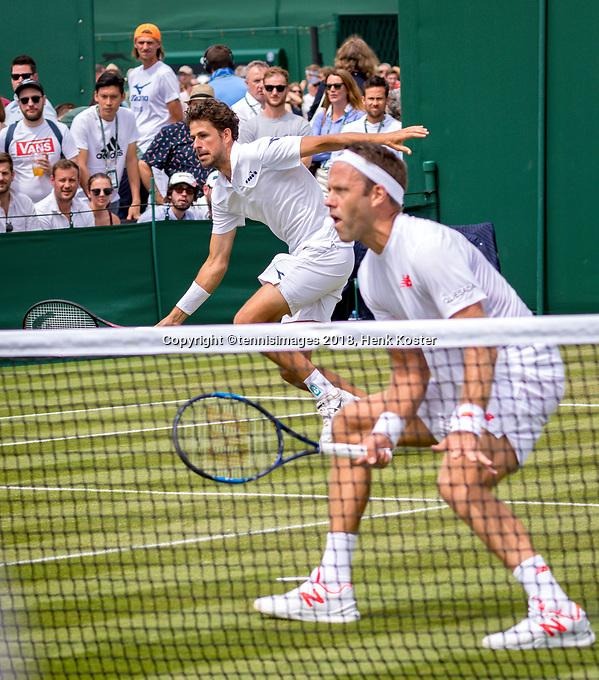 London, England, 4 th. July, 2018, Tennis,  Wimbledon, Men's doubles: Robin Haase (NED) Robert Lindstedt (SWE) (R)<br /> Photo: Henk Koster/tennisimages.com