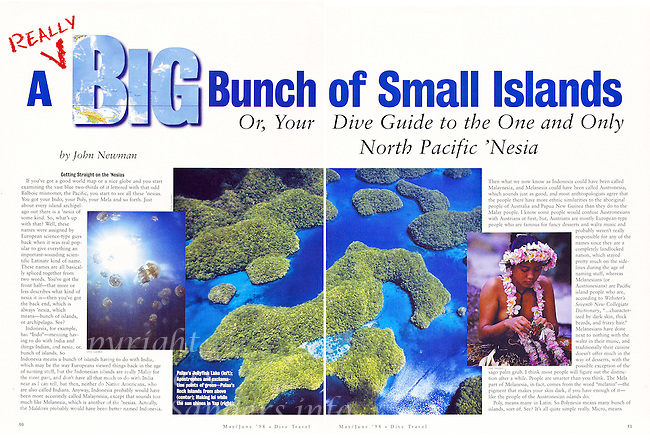 """DIVE TRAVEL Magazine - """"Micronesia"""" Article - Photography by Dale Sanders."""