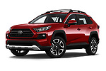 Stock pictures of low aggressive front three quarter view of a 2019 Toyota RAV4 Adventure 5 Door SUV