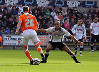 ATTENTION SPORTS PICTURE DESK<br /> Pictured: Darren Pratley of Swansea (R) blocking the way of Marcel Seip of Blackpool (L).<br /> Re: Coca Cola Championship, Swansea City Football Club v Blackpool at the Liberty Stadium, Swansea, south Wales. Saturday 24 October 2009