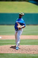 Iowa Cubs relief pitcher Juan Paniagua (34) delivers a pitch during a game against the Memphis Redbirds on May 29, 2017 at AutoZone Park in Memphis, Tennessee.  Memphis defeated Iowa 6-5.  (Mike Janes/Four Seam Images)