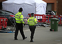 22/06/15<br /> <br /> Police leave floral tributes at the scene today in North Street, Langley Mill, Derbyshire, where three people died and five were injured in a flat fire where police have not ruled out arson.<br /> <br /> All Rights Reserved - F Stop Press.  www.fstoppress.com. Tel: +44 (0)1335 418629 +44(0)7765 242650