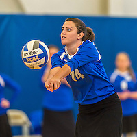 18 October 2015: Yeshiva University Maccabee Setter and Defensive Specialist Emily Rohan, a Senior from Dallas, TX, bumps the ball during game action against the Sage College Gators, at the Peter Sharp Center, College of Mount Saint Vincent, in Riverdale, NY. The Gators defeated the Maccabees 3-0 in the NCAA Division III Women's Volleyball Skyline matchup. Mandatory Credit: Ed Wolfstein Photo *** RAW (NEF) Image File Available ***