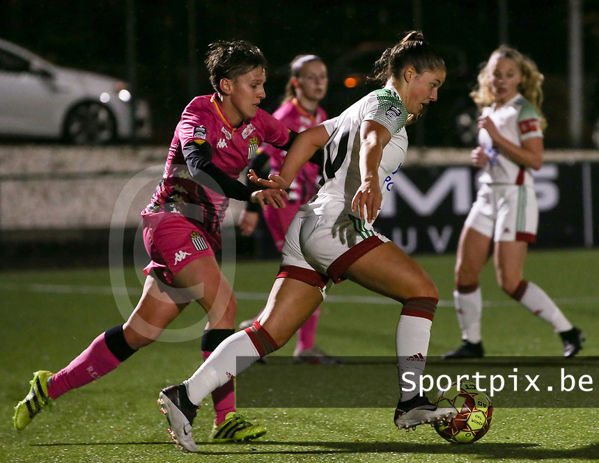 Julie Challe and Luna Vanzeir (10 OHL) in action during a female soccer game between Oud Heverlee Leuven and Sporting de Charleroi on the seventh matchday of the 2020 - 2021 season of Belgian Womens Super League , sunday 15 th of November 2020  in Heverlee , Belgium . PHOTO SPORTPIX.BE | SPP | SEVIL OKTEM