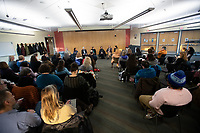 Chancellor Cathy Sandeen and her cabinet host an Ask Me Anything session in UAA's Consortium Library.