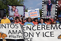 Washington, DC - September 12, 2019: Protesters gather near the Washington, DC home of Amazon CEO Jeff Bezos, September 12, 2019, to protest Amazon's involvement in supporting Immigration and Customs Enforcement (ICE) with technology. (Photo by Lenin Nolly/Media Images International)