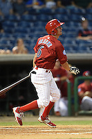 Clearwater Threshers second baseman Brodie Greene (6) at bat during a game against the Tampa Yankees on April 21, 2015 at Bright House Field in Clearwater, Florida.  Clearwater defeated Tampa 3-0.  (Mike Janes/Four Seam Images)