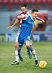 Hamilton Accies v St Johnstone…09.12.17…  New Douglas Park…  SPFL<br />Stefan Scougall is tripped by Dougie Imrie<br />Picture by Graeme Hart. <br />Copyright Perthshire Picture Agency<br />Tel: 01738 623350  Mobile: 07990 594431