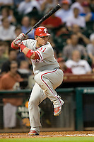 Philadelphia Phillies catcher Carlos Ruiz #51 at bat during the Major League Baseball game against the Houston Astros at Minute Maid Park in Houston, Texas on September 13, 2011. Houston defeated Philadelphia 5-2.  (Andrew Woolley/Four Seam Images)