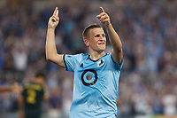 ST PAUL, MN - JULY 24: Robin Lod #17 of Minnesota United FC celebrates scoring a goal during a game between Portland Timbers and Minnesota United FC at Allianz Field on July 24, 2021 in St Paul, Minnesota.