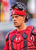 29 July 2017: Washington Nationals catcher Matt Wieters walks to the dugout prior to a game against the Colorado Rockies at Nationals Park in Washington, DC. The Rockies defeated the Nationals 4-2 in the first game of their 3-game weekend series. Mandatory Credit: Ed Wolfstein Photo *** RAW (NEF) Image File Available ***