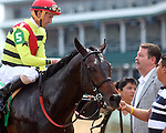 June 28, 2014:  Five year old horse Silver Max (Badge of Silver x Kissin Rene, by Kissin Kris) win the G2 Firecracker Stakes with jockey Robby Albarado.  Owners Mark Bacon and Dana Wells, trainer Dale Romans.  ©Mary M. Meek/ESW/CSM