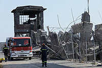 Pictured: A building has collapsed at the port of Piraeus, Greece. Friday 19 July 2019<br /> Re:A 5.3-magnitude has struck Greece, 14 miles northwest of Athens shortly after 2pm local time.