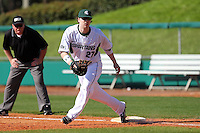 First baseman Jeff Holm #27 of the Michigan State Spartans during the Big East-Big Ten Challenge vs. the Seton Hall Pirates at Al Lang Field in St. Petersburg, Florida;  February 19, 2011.  Michigan State defeated Seton Hall 5-4.  Photo By Mike Janes/Four Seam Images
