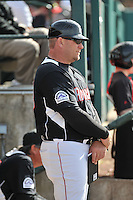 New Britain Rock Cats manager Darin Everson (39) looks on during a game between the New Britain Rock Cats and the New Hampshire Fisher Cats at New Britain Stadium on April 19, 2015 in New Britain, Connecticut.<br /> (Gregory Vasil/Four Seam Images)