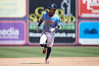 Pedro Florimon (23) of the Lehigh Valley Iron Pigs rounds the bases after hitting a home run against the Durham Bulls at Coca-Cola Park on July 30, 2017 in Allentown, Pennsylvania.  The Bulls defeated the IronPigs 8-2.  (Brian Westerholt/Four Seam Images)