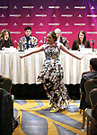 Sterling wearing her Broadwaycon dress during a panel for BroadwayHD and the future of capturing stage performances for New Musicals at New York Hilton Midtown on January 13, 2019 in New York City.