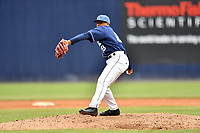 Asheville Tourists pitcher Alexander Martinez (28) delivers a pitch during game one of a double header against the West Virginia Power at McCormick Field on April 20, 2019 in Asheville, North Carolina. The Tourists defeated the Power 12-7. (Tony Farlow/Four Seam Images)