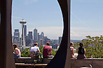 Seattle, Kerry Park, overlook is a favorite tourist attraction affording the best panoramic view of Seattle, Mount Rainer and Puget Sound,