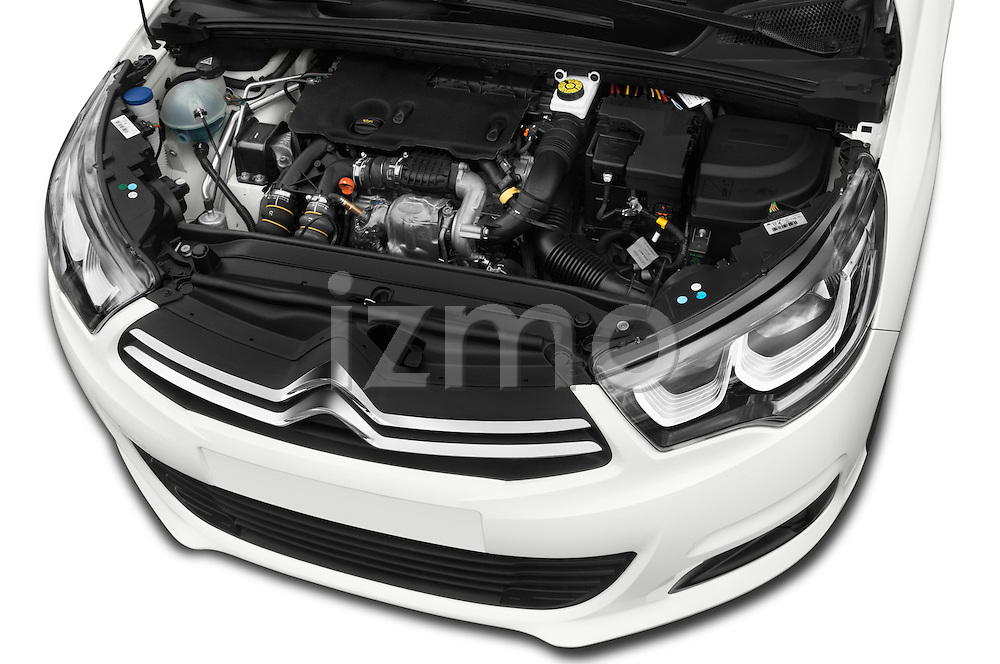 Car Stock 2016 Citroen C4 Feel 5 Door Hatchback Engine  high angle detail view