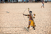 A Pareci archer competes in tribal dress at the International Indigenous Games, in the city of Palmas, Tocantins State, Brazil. Photo © Sue Cunningham, pictures@scphotographic.com 26th October 2015