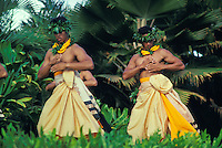 EDITORIAL ONLY. Men performing hula at Lanikuhonua, Oahu