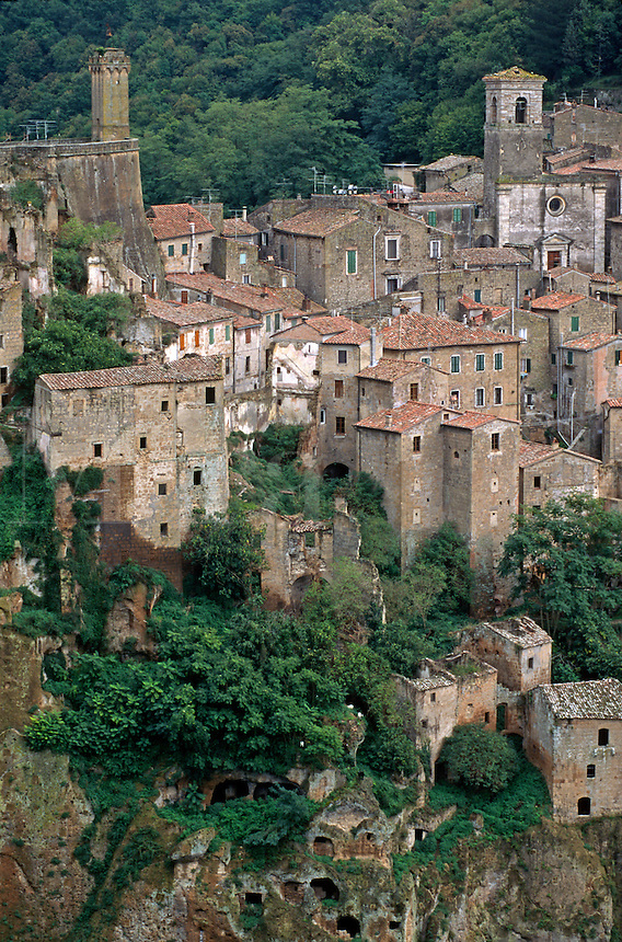 SORANO is a MEDIEVAL HILL TOWN with a 15th Cent. Palace & Castle - TUSCANY, ITALY