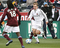Bryan Namoff breaks up a Colorado attack. In their first game in their new stadium Colorado Rapids held on to beat DC United 2-1 at Dick's Sporting Goods Park in Commerce City, Colorado on April 7 2007 before the first sellout crowd in Rapids history.