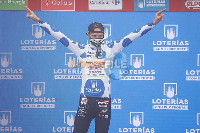 Rein Taaramäe (EST) Intermarché-Wanty-Gobert Matériaux from the breakaway wins Stage 3 and also takes over the mountains Polka Dot Jersey of La Vuelta d'Espana 2021, running 202.8km from Santo Domingo de Silos to Picon Blanco, Spain. 16th August 2021.    <br /> Picture: Luis Angel Gomez/Photogomezsport | Cyclefile<br /> <br /> All photos usage must carry mandatory copyright credit (© Cyclefile | Luis Angel Gomez/Photogomezsport)