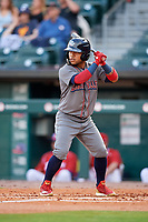 Lehigh Valley IronPigs center fielder Alexi Amarista (2) at bat during a game against the Buffalo Bisons on June 23, 2018 at Coca-Cola Field in Buffalo, New York.  Lehigh Valley defeated Buffalo 4-1.  (Mike Janes/Four Seam Images)