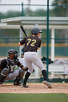 Pittsburgh Pirates left fielder Matt Diorio (72) at bat during a minor league Extended Spring Training intrasquad game on April 1, 2017 at Pirate City in Bradenton, Florida.  (Mike Janes/Four Seam Images)