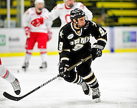 2 January 2011: Army Black Knight forward Mike Hull, a Junior from Grosse Pointe Woods, MI, in action against the Ohio State University Buckeyes at Gutterson Fieldhouse in Burlington, Vermont. The Buckeyes defeated the Black Knights 5-3 to win the 2010-2011 Catamount Cup. Mandatory Credit: Ed Wolfstein Photo