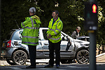 © Joel Goodman - 07973 332324 . 16/07/2017 . Manchester , UK .The Independent Police Complaints Commission have been informed following a road traffic accident near Stockport . Reports say a car struck two elderly people on the A6 Buxton Road in Heaviley at the junction with Kennerley Road and that two young males were detained by members of the public and police as they tried to make off from the scene . An undamaged silver BMW and a badly damaged dark grey Renault Clio were towed from the scene and surrounding roads have been closed to traffic as an investigation is carried out . Photo credit : Joel Goodman