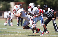 STANFORD,CA-- August 24, 2013: Torsten Rotto during the open practice at the Dan Elliott Practice Field Saturday.<br /> <br /> It was part the Stanford Football 2013 Open House.