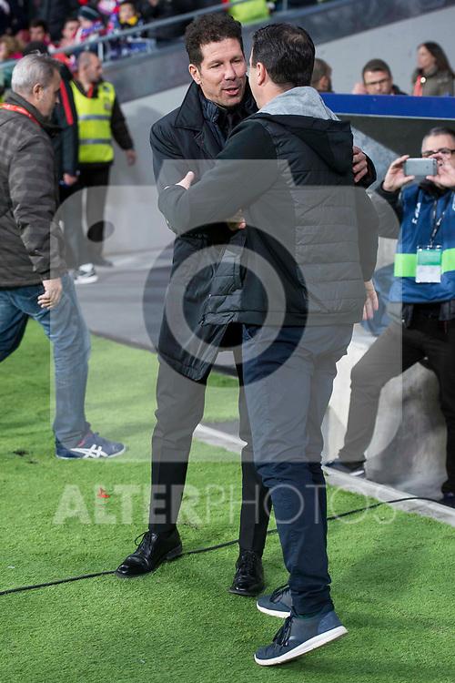 Atletico de Madrid coach Diego Pablo Simeone and Elche coach Jose Joaquin Moreno during return match of King's Cup between Atletico de Madrid and Elche CF at Wanda Metropolitano Stadium in Madrid, Spain. November 29, 2017. (ALTERPHOTOS/Borja B.Hojas)