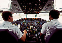 12 November 1992: View inside the cockpit of an ALM jet on the runway at Flamingo Airport, in Bonaire, Netherlands Antilles. The now defunct airline ALM, was at the time the national airline for the Dutch Islands of Aruba, Bonaire and Curacao (known as the ABC Islands). The island chain is located just north of Venezuela...Mandatory Photo Credit: Ed Wolfstein Photo