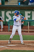 Tim Susnara (6) of the Ogden Raptors at bat against the Grand Junction Rockies at Lindquist Field on June 5, 2021 in Ogden, Utah. The Raptors defeated the Rockies 18-1. (Stephen Smith/Four Seam Images)