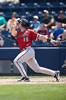 Jakson Reetz (15) of the Rochester Red Wings follows through on his swing against the Scranton/Wilkes-Barre RailRiders at PNC Field on July 25, 2021 in Moosic, Pennsylvania. (Brian Westerholt/Four Seam Images)