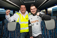 Saturday 11 January 2014<br /> Pictured:Fans and stewards on the Coach<br /> Re: Swansea City Travel Club