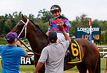 Finley'sluckycharm  (no. 6), ridden by Brian Hernandez, Jr. and trained by W. Calhoun, wins the Honorable Miss Handicap (grade II).   The winner finished 2 1/4 lengths ahead of Vertical Oak  (no. 1) in the 6 Furlong race against four opponents.  (Bruce Dudek/Eclipse Sportswire)