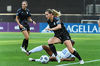 BRIDGEVIEW, IL - JULY 18: Kealia Watt #2 of the Chicago Red Stars dribbles the ball during a game between OL Reign and Chicago Red Stars at SeatGeek Stadium on July 18, 2021 in Bridgeview, Illinois.