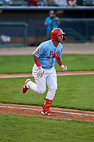 Peoria Chiefs left fielder Leandro Cedeno (35) jogs towards first base during a Midwest League game against the Bowling Green Hot Rods at Dozer Park on May 5, 2019 in Peoria, Illinois. Peoria defeated Bowling Green 11-3. (Zachary Lucy/Four Seam Images)